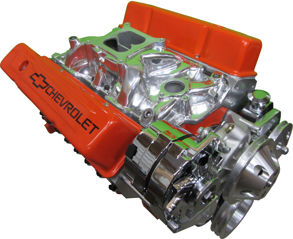 Orange Chevy 350 motor with chrome pulley kit