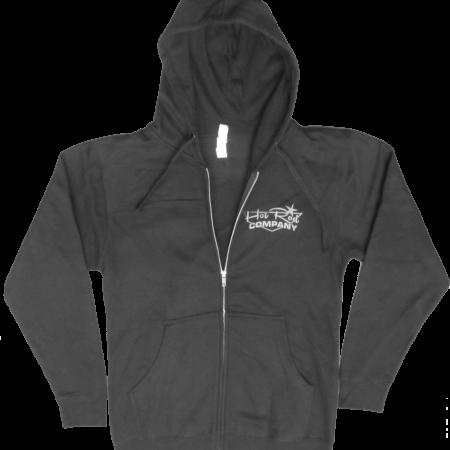 Hot Rod Company zip-up hooded sweatshirt, black (front)