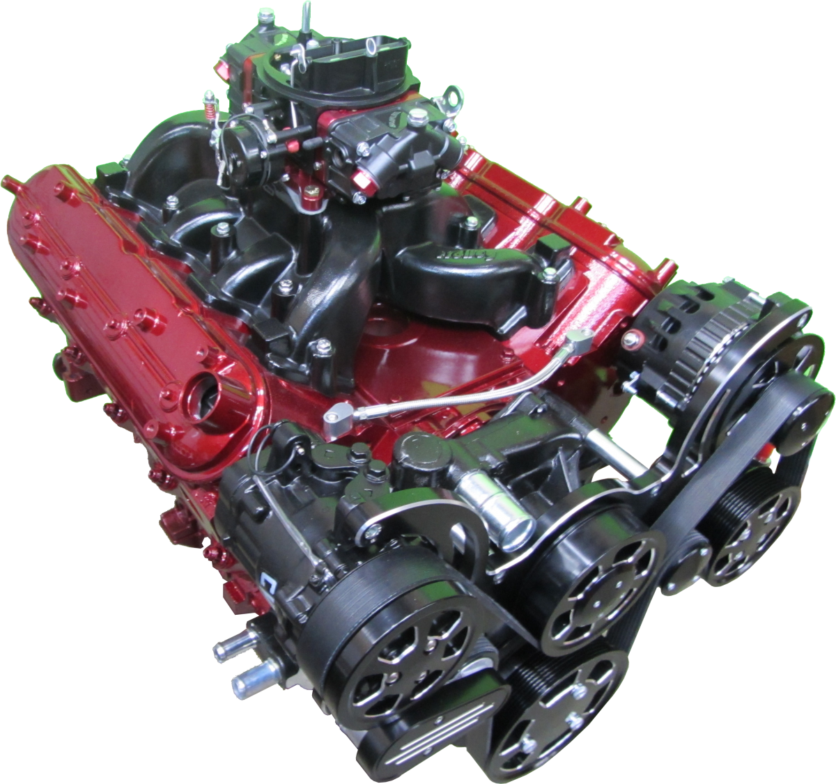 Red Chevy LS motor with black AC pulley kit and Brawler carburetor